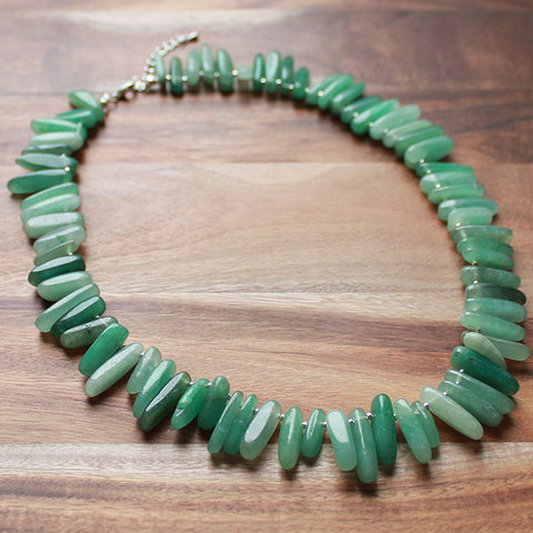 45cm Green Aventurine Stick Point Semi Precious Natural Stone Short Necklace - Cherish Me Jewellery - Melbourne Australia