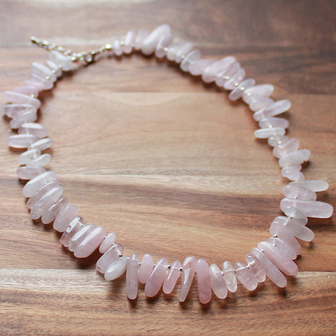 45cm Pink Rose Quartz Stick Point Semi Precious Natural Stone Mid-Length Necklace - Cherish Me Jewellery - Melbourne Australia