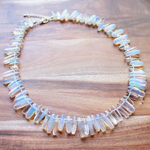 Semi-Precious Stick Point Stone Mid Length 53cm White Opalite Necklace - Cherish Me Jewellery - Melbourne Australia