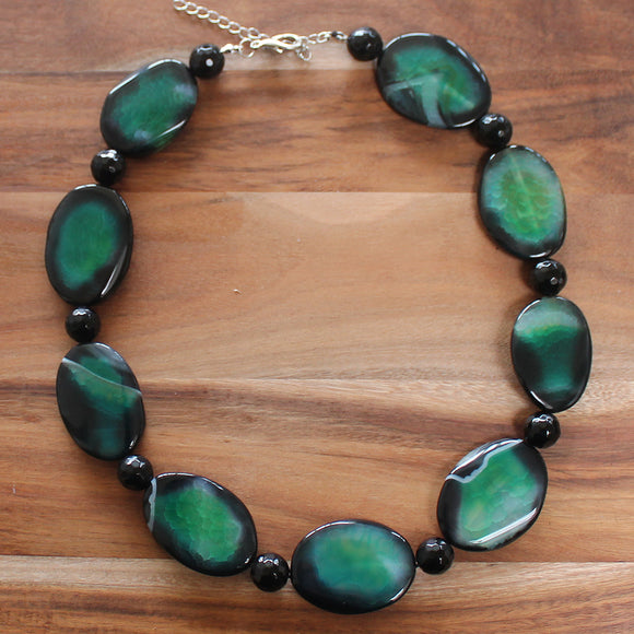 48cm Black-Green Agate Oval Semi Precious Stone Necklace - Cherish Me Jewellery - Melbourne Australia