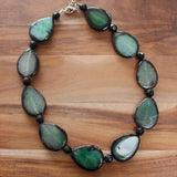 50cm Green-Black Agate Teardrop Semi Precious Stone Necklace - Cherish Me Jewellery - Melbourne Australia