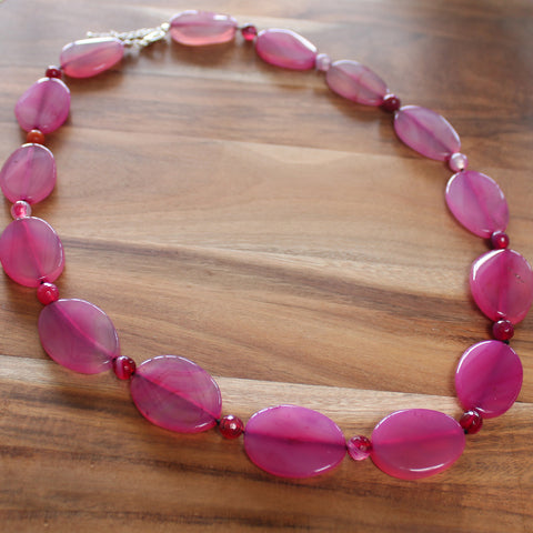 64cm Pink Agate Oval Semi Precious Natural Stone Mid-Length Necklace - Cherish Me Jewellery - Melbourne Australia
