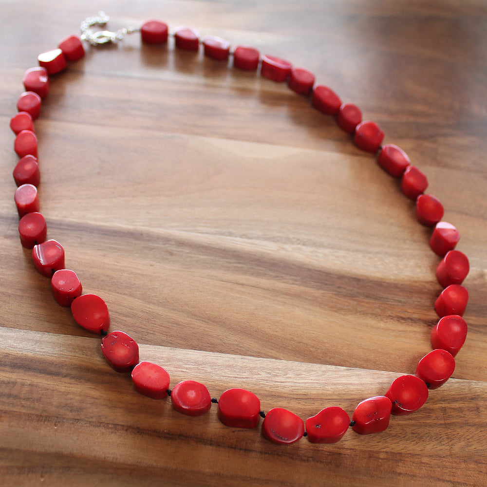 64cm Red Coral Semi Precious Natural Stone Single Strand Mid-Length Necklace - Cherish Me Jewellery - Melbourne Australia
