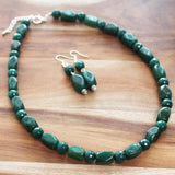 48cm Green Agate Semi Precious Natural Stone Mid-Length Necklace