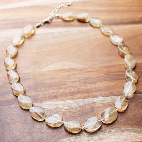 45cm Yellow Cirtine Semi Precious Natural Stone Mid-Length Necklace - Cherish Me Jewellery - Melbourne Australia