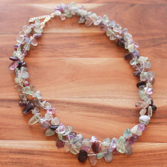 58cm Double Strand Natural Purple & Green Fluorite Semi Precious Stone Short Nugget Necklace - Cherish Me Jewellery - Melbourne Australia