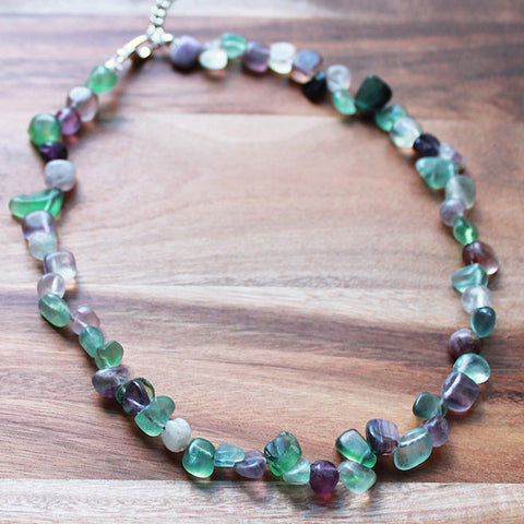 43cm Natural Purple & Green Fluorite Semi Precious Stone Short Nugget Necklace - Cherish Me Jewellery - Melbourne Australia