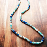 86cm Faceted Abacus Blue and Silver Hematite Semi Precious Agate Stone Long Necklace - Cherish Me Jewellery - Melbourne Australia