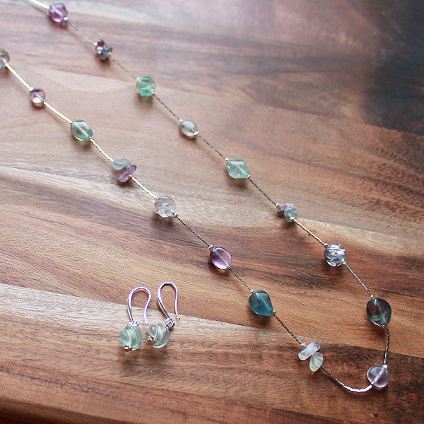 84cm Green and Purple Fluorite Long Silver Chain Necklace with matching Earrings - Cherish Me Jewellery - Melbourne Australia