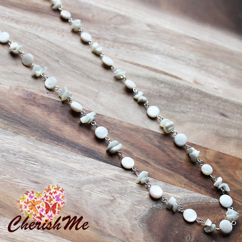 96cm White Shell Long Silver Necklace - Cherish Me Jewellery - Melbourne Australia