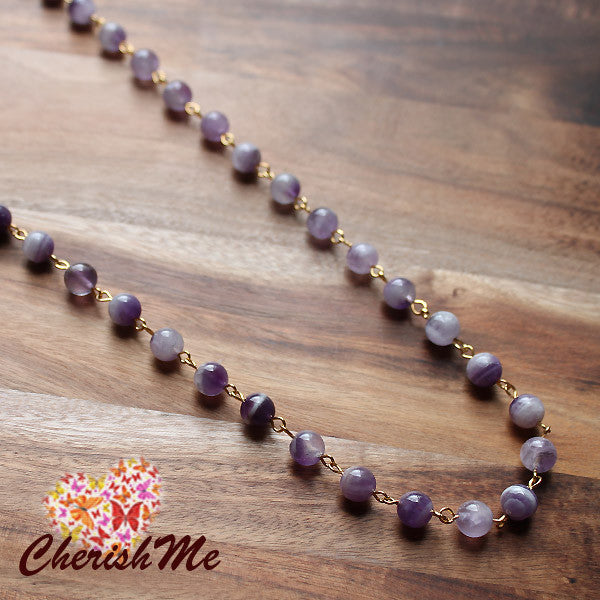 88cm Natural Purple Amethyst Stone Long Gold Necklace - Cherish Me Jewellery - Melbourne Australia