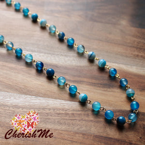88cm Natural Blue Agate Stone Long Gold Necklace - Cherish Me Jewellery - Melbourne Australia