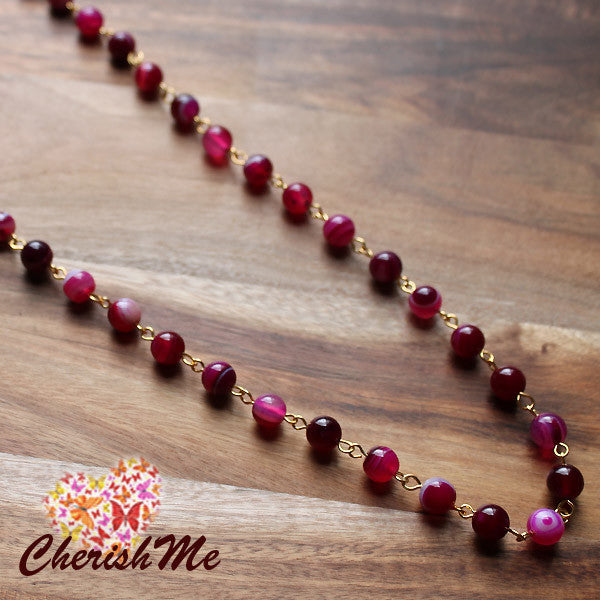 88cm Natural Pink Agate Stone Long Gold Necklace - Cherish Me Jewellery - Melbourne Australia