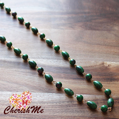 86cm Natural Green Ruby Zoiste Stone Long Gold Necklace - Cherish Me Jewellery - Melbourne Australia