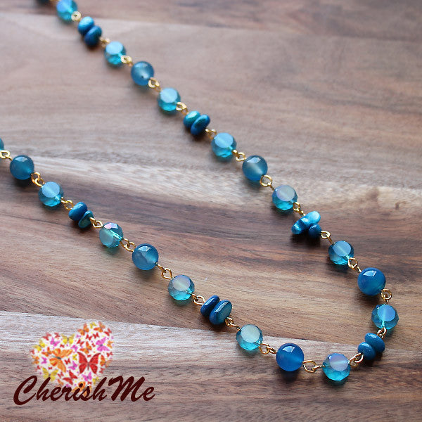 88cm Natural Blue Agate Stone and Crystal Long Gold Necklace - Cherish Me Jewellery - Melbourne Australia