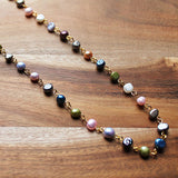87cm Delicate Multi-Colour Pearl Long Gold Necklace with matching earrings - Cherish Me Jewellery - Melbourne Australia