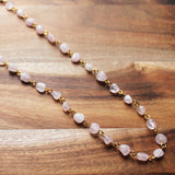 87cm Delicate Pink Rose Quartz Long Gold Necklace with matching earrings - Cherish Me Jewellery - Melbourne Australia
