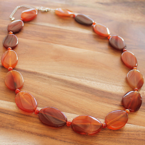 64cm Orange Agate Oval Semi Precious Natural Stone Mid-Length Necklace - Cherish Me Jewellery - Melbourne Australia