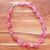 59cm Pink Agate Oval Semi Precious Natural Stone Mid-Length Necklace - Cherish Me Jewellery - Melbourne Australia