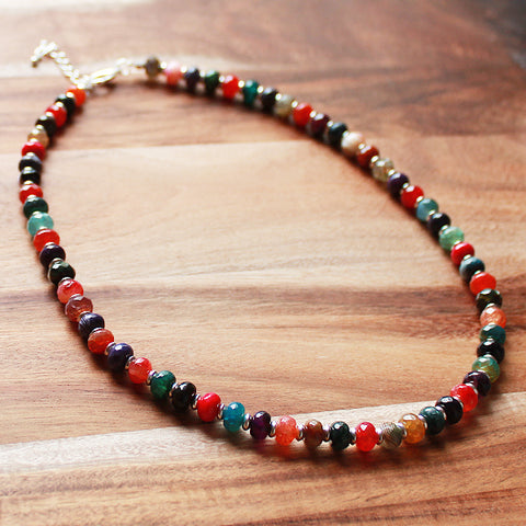 49cm Silver & Faceted Abacus Multi-Colour Agate Semi-Precious Stone Short Necklace - Cherish Me Jewellery - Melbourne Australia