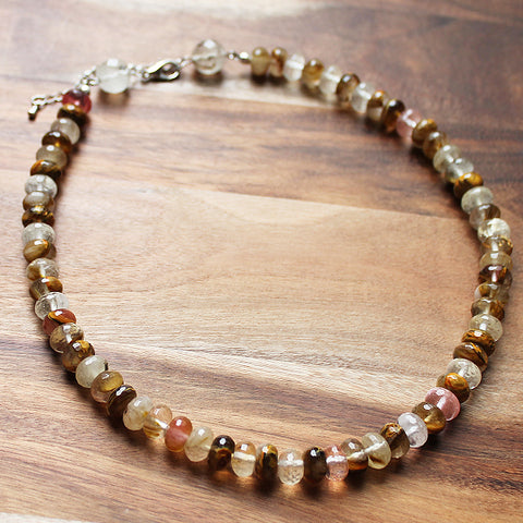49cm Faceted Abacus Brown Tourmaline Natural Stone Semi Precious Short Necklace - Cherish Me Jewellery - Melbourne Australia