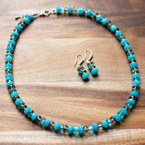 49cm Faceted Abacus Blue Agate, Tourmaline & Smokey Quartz Semi-Precious Stone Mid-Length Necklace - Cherish Me Jewellery - Melbourne Australia