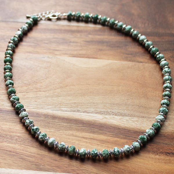 49cm Silver & Faceted Abacus Green Spotted Jade Semi-Precious Stone Short Necklace with matching earrings - Cherish Me Jewellery - Melbourne Australia