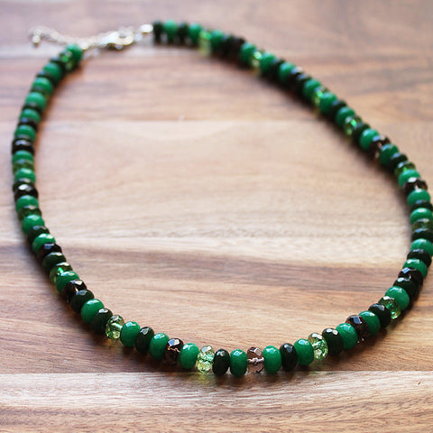 49cm Faceted Abacus Multi-Green Agate, Tourmaline & Smokey Quartz Natural Semi Precious Stone Short Necklace with matching earrings - Cherish Me Jewellery - Melbourne Australia