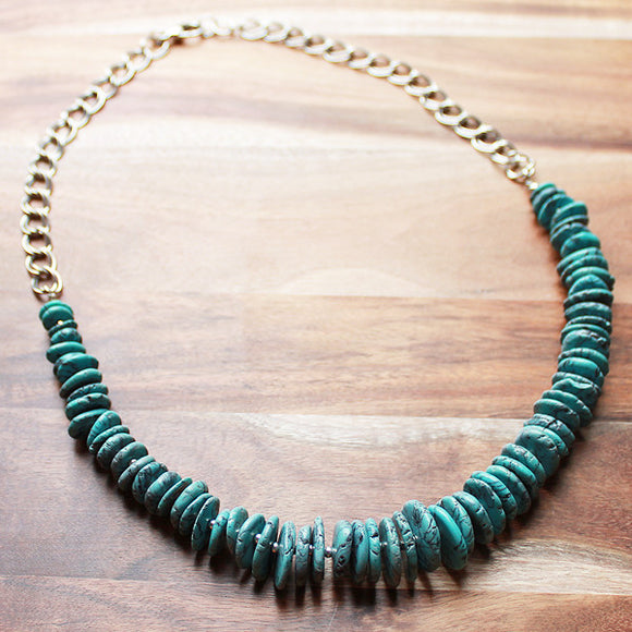 60cm Blue Turquoise Natural Stone Mid-Length Necklace - Cherish Me Jewellery - Melbourne Australia