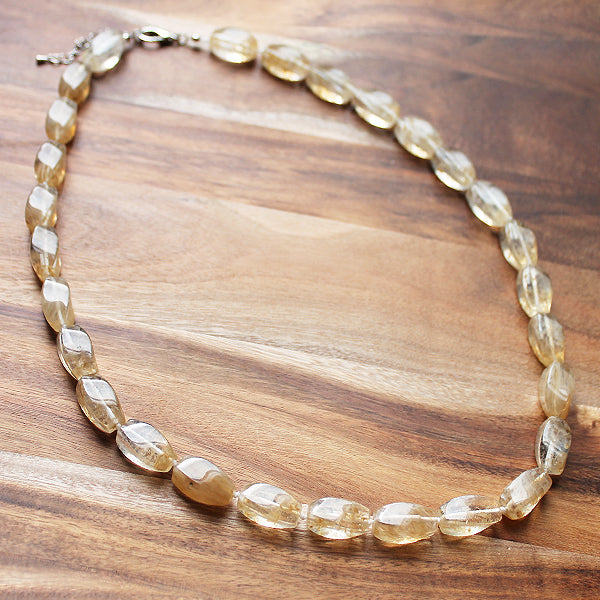 64cm Yellow Citrine Semi Precious Natural Stone Single Strand Mid-Length Necklace - Cherish Me Jewellery - Melbourne Australia