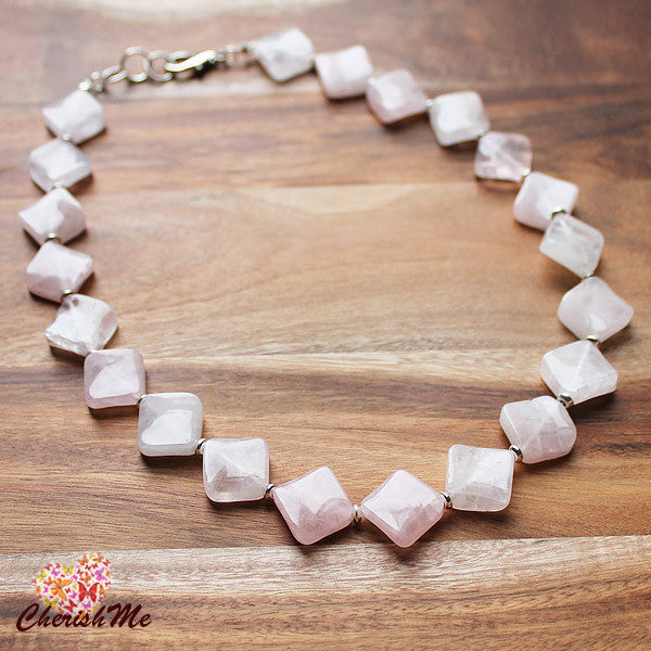 50cm Natural Pink Rose Quartz Diamond Shaped Semi Precious Stone Short Necklace - Cherish Me Jewellery - Melbourne Australia