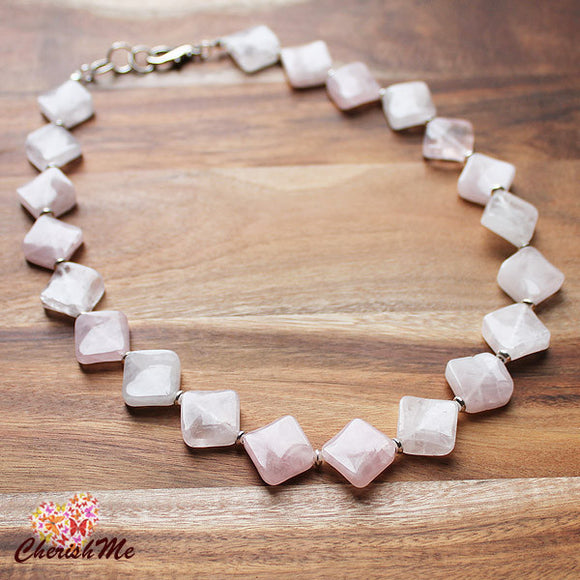 50cm Natural Pink Rose Quartz Diamond Shaped Semi Precious Stone Mid-Length Necklace - Cherish Me Jewellery - Melbourne Australia