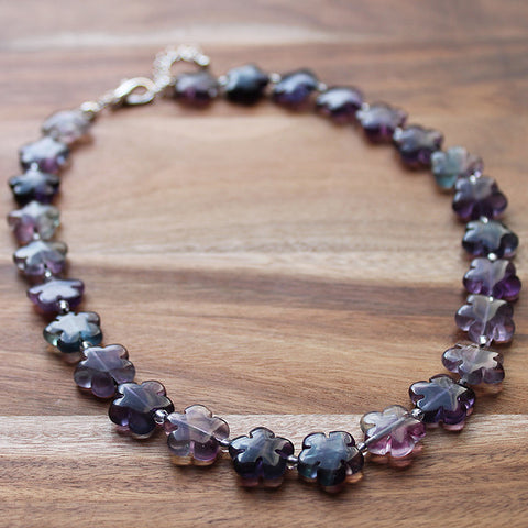 43cm Flower Shaped Purple & Green Flourite Semi Precious Natural Stone Short Necklace - Cherish Me Jewellery - Melbourne Australia