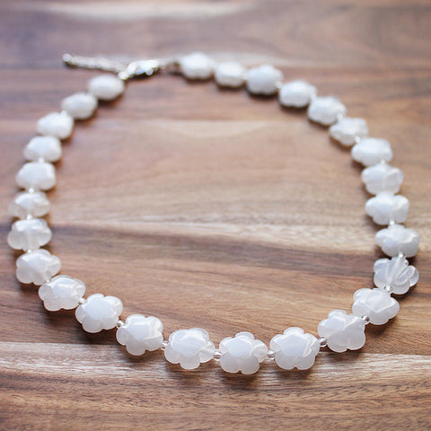 47cm Flower Shaped White Jade Semi Precious Natural Stone Short Necklace - Cherish Me Jewellery - Melbourne Australia