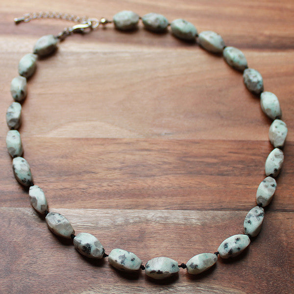 47cm Green Lotus Jasper Natural Faceted Oval Bead Stone Mid-Length Necklace - Cherish Me Jewellery - Melbourne Australia