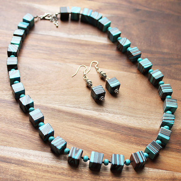 58cm Blue Malachite Semi Precious Square Stone Single Strand Mid-Length Necklace with matching earrings - Cherish Me Jewellery - Melbourne Australia