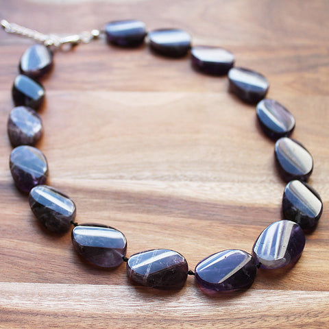 47cm Oval Shaped Purple Amethyst Semi Precious Natural Stone Short Necklace - Cherish Me Jewellery - Melbourne Australia