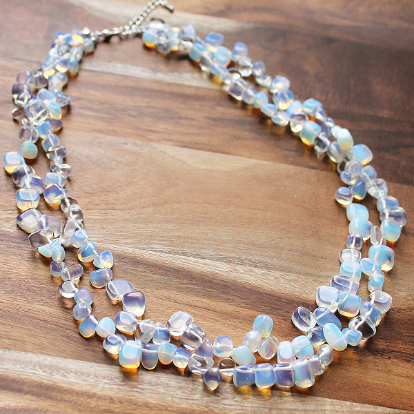 55cm Opalite Semi-Precious Stone Mid-Length Double Strand Necklace - Cherish Me Jewellery - Melbourne Australia