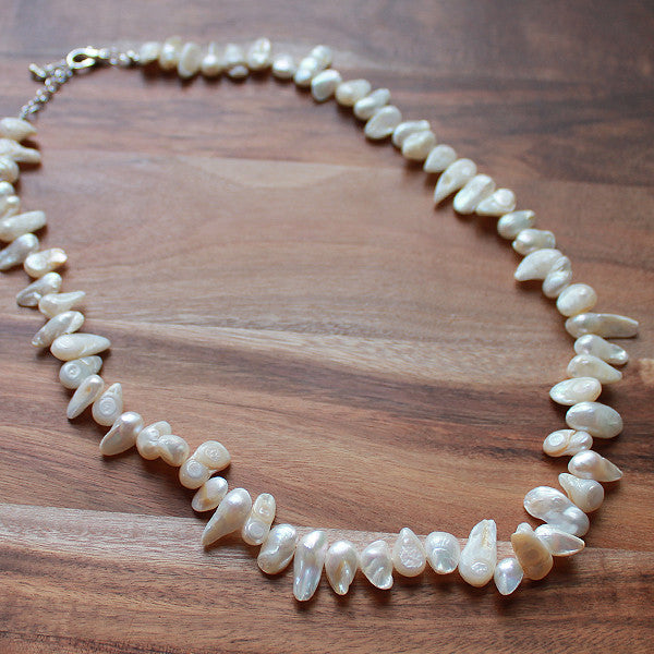 51cm White Pearl Semi Precious Natural Stone Mid-Length Necklace - Cherish Me Jewellery - Melbourne Australia