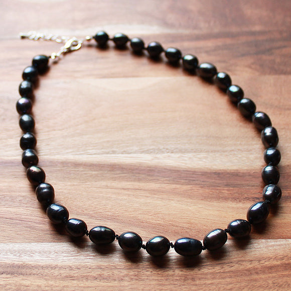 47cm Black Pearl Semi Precious Natural Stone Mid-Length Necklace - Cherish Me Jewellery - Melbourne Australia