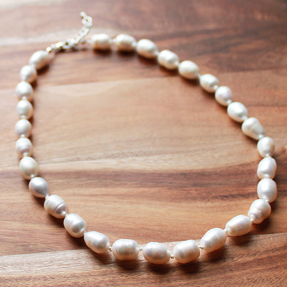 46cm White Pearl Semi Precious Natural Stone Mid-Length Necklace - Cherish Me Jewellery - Melbourne Australia