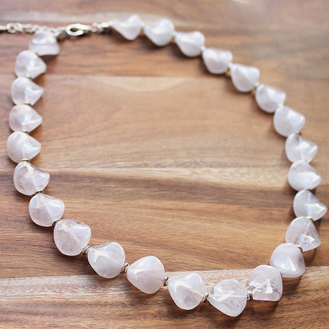 49cm Round Shaped Pink Rose Quartz Semi Precious Natural Stone Mid-Length Necklace - Cherish Me Jewellery - Melbourne Australia