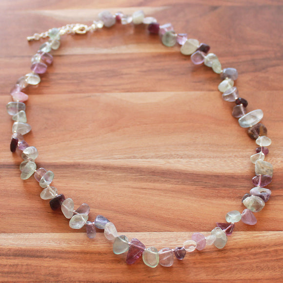 60cm Natural Purple & Green Fluorite Semi Precious Stone Mid-Length Nugget Necklace - Cherish Me Jewellery - Melbourne Australia