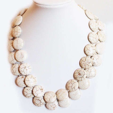 45cm Double Strand White Turquoise Semi Precious Natural Stone Short Necklace - Cherish Me Jewellery - Melbourne Australia