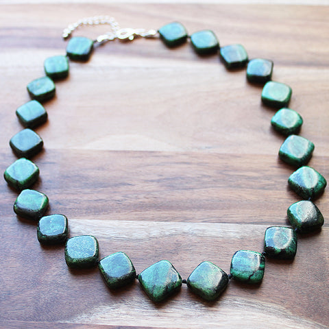48cm Diamond Shaped Green Jasper Semi Precious Natural Stone Short Necklace - Cherish Me Jewellery - Melbourne Australia