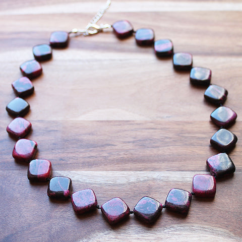 48cm Diamond Shaped Pink Jasper Semi Precious Natural Stone Short Necklace - Cherish Me Jewellery - Melbourne Australia