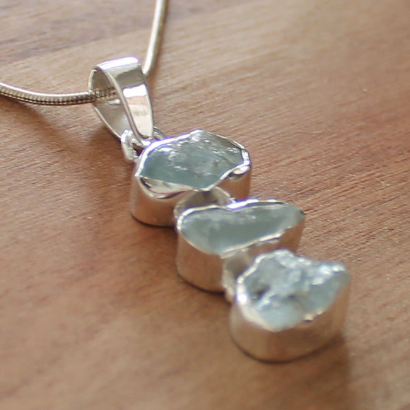 100% 925 Solid Sterling Silver Rough Cut Blue Aquamarine Semi Precious Natural Stone Pendant - Cherish Me Jewellery - Melbourne Australia