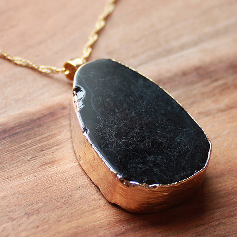 Natural Semi Precious Dragons Vein Black Agate Stone Gold Edged Pendant - Cherish Me Jewellery - Melbourne Australia