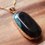 Natural Semi Precious Dragons Vein Blue Agate Stone Gold Edged Pendant - Cherish Me Jewellery - Melbourne Australia