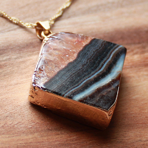 Natural Semi Precious Dragons Vein Brown Agate Stone Gold Edged Pendant - Cherish Me Jewellery - Melbourne Australia